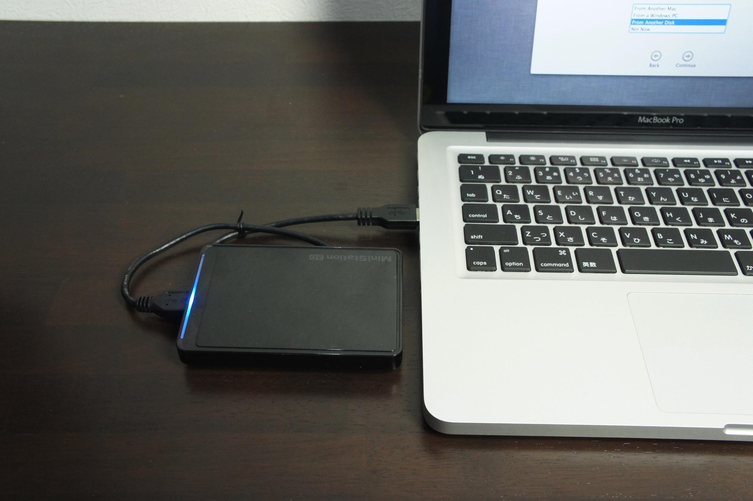外付けハードディスク接続
